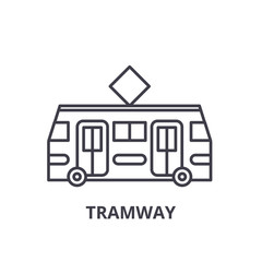 Tramway line icon concept. Tramway vector linear illustration, sign, symbol