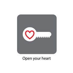 typography slogan. Icon - key with a heart. Vector illustration