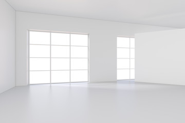 Modern room with empty white billboard. Mock up, 3D Rendering.