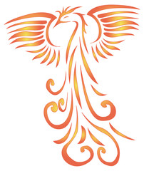 vector illustration of a Phoenix with outstretched wings