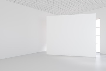 White billboard standing near a window in a white room. 3D rendering.
