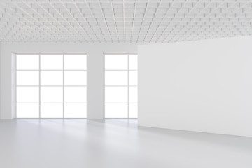 White office interior with empty billboard on wall. Mock up, 3D Rendering.