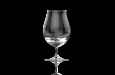 Empty clear transparent isolated beer glass on black background with ground reflections. 3D rendering