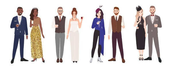 Wall Mural - Bundle of elegant romantic couples in evening outfits holding glasses with drinks. Set of fashionable men and women dressed for cocktail party. Colorful vector illustration in flat cartoon style.