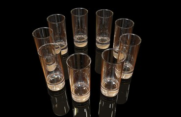 Nine transparent empty tequila shots on black background with ground reflections. 3D rendering