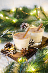 Christmas Milk Cocktail with Spice Eggnog in Festive Atmosphere.