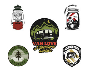 Vintage hand drawn travel emblems set. Adventure logo concepts. Mountain expedition, camp badge designs. Outdoor insignias. Stock hike patches isolated on white background.