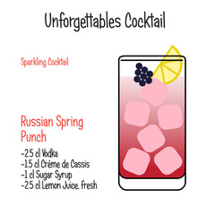 Russian Spring Punch alcoholic cocktail vector illustration recipe isolated