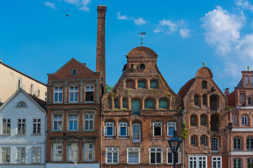 Half-timbered red brick houses in Lueneburg