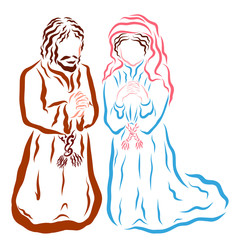 Prayer, man and woman pray to God on their knees, the Virgin Mary and Joseph or believers of Biblical times