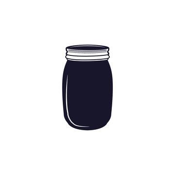 Vintage hand drawn silhouette jar symbol. Cute monochrome style. Stock illustration isolated on hiwte background