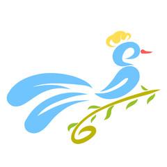 Blue bird with a tuft sitting on a green twig