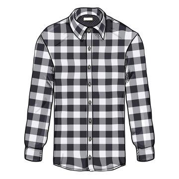 Vector Cartoon Long Sleeve Black and White Checkered Casual Men Shirt
