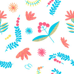 Folklore herbal background seamless flowers pattern.