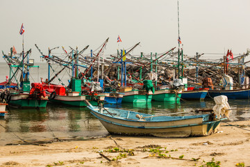 Photo fishing boat on the beach as the images look natural. And reflect the lifestyle of the livelihood of the fishermen catch sea creatures that act that we eat.