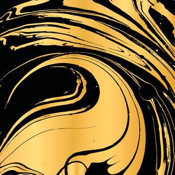 Vector illustration of hand drawn ink marbling texture. Black and gold design template for party, invitation, web, banner, birthday, wedding, business card.