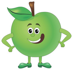 Cartoon funny Illustrations apple. Funny fruit drawing in cartoon style. Smiley Apple character