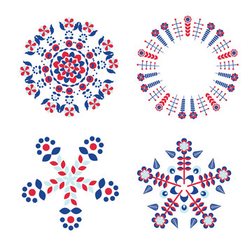 set of decorative circular composition with folk elements