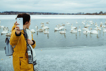 woman feed swans on winter lake