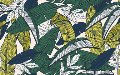 Fototapeta Seamless tropical pattern with banana leaves. Hand drawn obraz