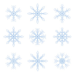 bright snowflakes winter set isolated on white background vector illustration EPS10