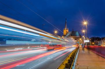 CITYSCAPE - Urban traffic at night on the bridge in Szczecin