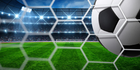 Soccer ball on goal with net