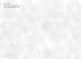 Abstract of futuristic gradient gray pentagon pattern background.