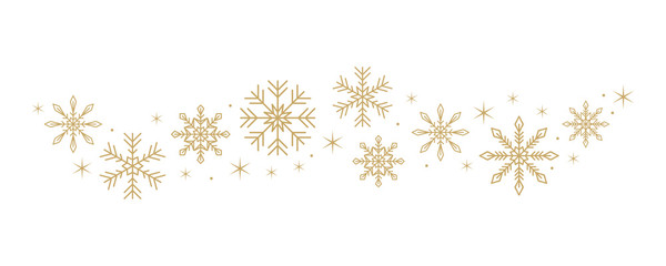 snowflakes and stars border isolated on white background vector illustration EPS10