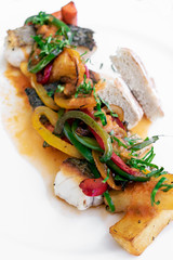 caldeirada traditional portuguese sea bream fish and vegetable spicy stew in gourmet restaurant