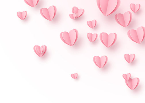 Heart background with light pink paper cut hearts. Love pattern for motion graphic design, valentines day cards, mother greetings. Vector illustration