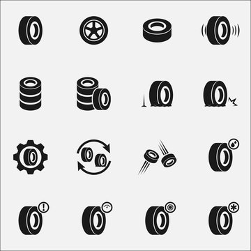 Set of tires flat vector icon isolated on white background.
