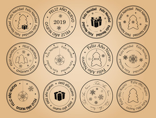 happy new year and merry christmas - vector postage stamps with snowflakes on spanish