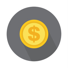 Dollar coin icon, symbol on color background. Vector isolated design