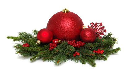 Red christmas balls on pine branches