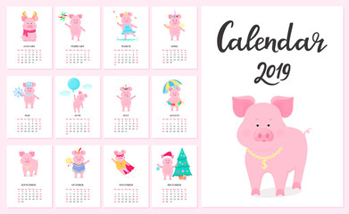 Calendar for 2019 from Sunday to Saturday. Cute pigs in different costumes. Superhero, Princess, Santa Claus. Funny animal. The symbol of the Chinese New Year. Piggy cartoon character