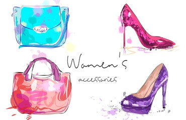 Women's accessories poster. Bags and high heeled ladies shoes.