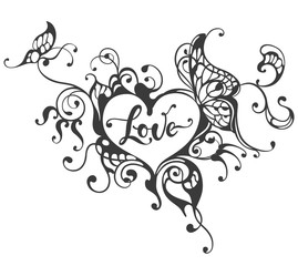 Printed kitchen splashbacks Butterflies in Grunge Love hand drawn lettering text in heart frame with butterfly