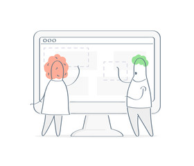 Two cute cartoon characters interacting, working on computer display interface, website design, content or layout creation, landing page creation, project management concept. Flat linear vector