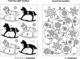 Two visual puzzles and coloring page for kids. Find the shadow for each picture of rocking horse. Count the baubles. Black and white. Answers included.