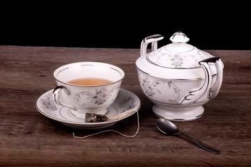 Teacup, saucer and sugar bowl