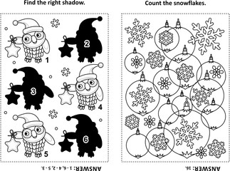Two visual puzzles and coloring page for kids. Find the shadow for each picture of owl wearing santa cap and holding a star ornament. Count the snowflakes. Black and white. Answers included.