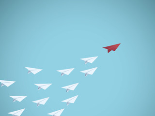 Business leadership vector concept with red paper plane leader. Symbol of management, teamwork, business success.