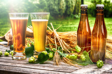 Photo sur Plexiglas Biere, Cidre Glasses with fresh cold beer in rustic setting