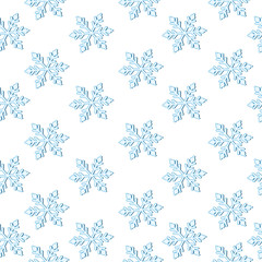 Seamless  pattern with simple vector snowflakes on a white background winter fantasy