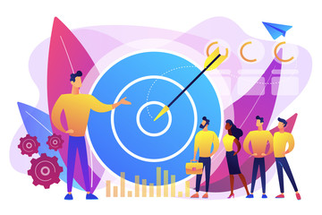 Big target, manager and employees engaged in company goals. Internal marketing, company goals promotion, employee engagement concept. Bright vibrant violet vector isolated illustration