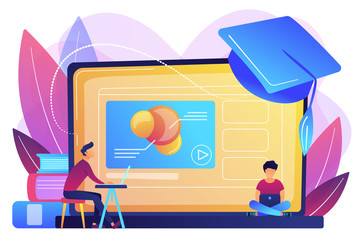 Students using e-learning platform video on laptop and graduation cap. Online education platform, e-learning platform, online teaching concept. Bright vibrant violet vector isolated illustration