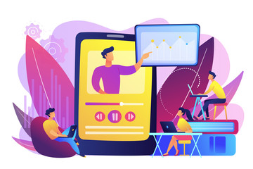 Students watching online training video with teacher and chart on tablet. Online teaching, share your knowledge, english teacher online concept. Bright vibrant violet vector isolated illustration