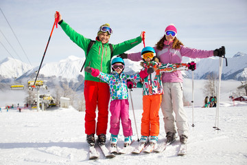family at the ski resort