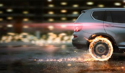 schnelles Auto mit brennenden Reifen